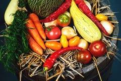 Un insieme della frutta e delle verdure fresche Fotografia Stock Libera da Diritti
