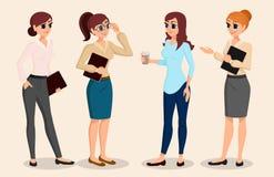 Un insieme della gente di affari dei caratteri, riunione, addestramento, lavoro di squadra Personale dell'ufficio Illustrazione d Immagine Stock Libera da Diritti