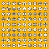 Un insieme della linea Art Abstract Geometric Black di Minimalistic di ottanta vettori e delle icone rotonde bianche Immagini Stock Libere da Diritti