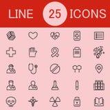 Un insieme della linea icone di sanità 25 Fotografie Stock Libere da Diritti