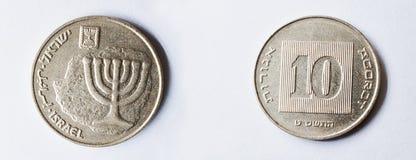 Un insieme della moneta del alluminio-bronzo di 10 agorot di Israele Immagini Stock