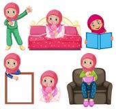 Un insieme della ragazza musulmana e dell'attività illustrazione vettoriale