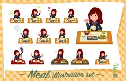 Un insieme della ragazza della scuola del Giappone circa i pasti illustrazione vettoriale