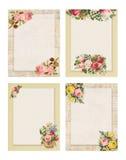 Un insieme della rosa floreale di stile elegante misero d'annata stampabile quattro stazionaria sul fondo della carta e di legno royalty illustrazione gratis