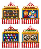 Un insieme della tenda della fiera di divertimento illustrazione di stock