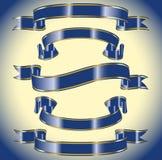 Un insieme delle bandiere blu Fotografie Stock Libere da Diritti