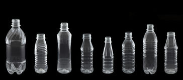 Un insieme delle bottiglie di plastica differenti Immagini Stock Libere da Diritti