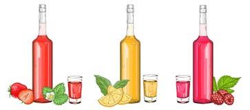Un insieme delle bottiglie di vetro con i liquori ed i colpi della frutta illustrazione di stock