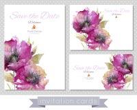 Un insieme delle carte con i papaveri rosa illustrazione vettoriale