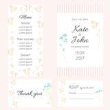 Un insieme delle carte delicate per le nozze royalty illustrazione gratis