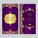 Un insieme delle carte dell'invito Fondo porpora con l'asiatico dell'oro, Ka Fotografia Stock Libera da Diritti