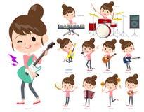 Un insieme delle donne che giocano il rotolo e musica pop del ` del ` n della roccia C'è Al Immagini Stock Libere da Diritti