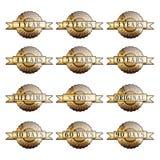 Un insieme delle etichette dorate di garanzia di 100% Immagine Stock Libera da Diritti