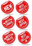 Un insieme delle etichette rosse di pubblicità di acquisto Fotografie Stock Libere da Diritti