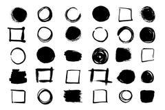 Un insieme delle forme di telai sotto forma di quadrati e di cerchi Fondo di vettore isolato su fondo bianco illustrazione vettoriale