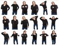 Un insieme delle foto di un uomo di mezza et? in varie pose ed emozioni Un collage dell'isolato di sulle immagini di sfondo bianc fotografia stock libera da diritti