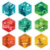 Un insieme delle icone con differenti scene di ogni giorno Illustrazione di vettore Fotografie Stock Libere da Diritti
