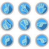 Un insieme delle icone con i gesti di mano nella progettazione piana moderna con ombra lunga Fotografia Stock