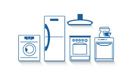 Un insieme delle icone degli apparecchi di cucina per il vostro disegno Immagine Stock Libera da Diritti