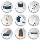 Un insieme delle icone del tamburo Progettazione piana Fotografia Stock