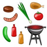 Un insieme delle icone di un barbecue Illustrazione di vettore di grigliare, s royalty illustrazione gratis