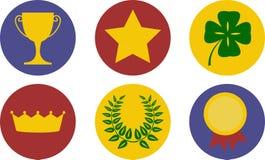 Un insieme delle icone di tema di vittoria Fotografia Stock