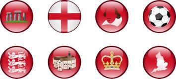 Un insieme delle icone lucide dell'Inghilterra illustrazione vettoriale
