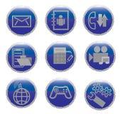Un insieme delle icone per la comunicazione su mezzi mobili Fotografie Stock