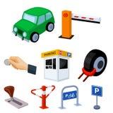 Un insieme delle icone per le automobili e le biciclette di parcheggio Fotografie Stock Libere da Diritti
