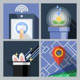Un insieme delle icone piane con uno smartphone, wi di vettore Fotografia Stock
