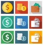 Un insieme delle icone piane dei soldi 9 e delle monete Fotografia Stock