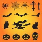Un insieme delle illustrazioni assortite di vettore per Halloween Fotografie Stock
