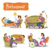 Un insieme delle illustrazioni che del fumetto di vettore il paziente sta parlando con uno psicoterapeuta, illustrazione vettoriale