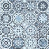 Un insieme delle mattonelle blu Immagini Stock