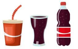 Un insieme delle navi con una cola - un vetro di carta, un becher di vetro, una bottiglia di plastica con una cola Immagine Stock