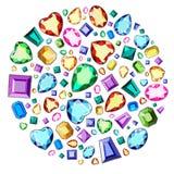 Un insieme delle pietre preziose dei colori differenti e del taglio differente Diamanti in un cerchio illustrazione vettoriale