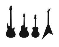 Un insieme delle siluette di varie chitarre Fotografia Stock Libera da Diritti