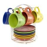 Un insieme delle tazze colorate per tè Fotografia Stock