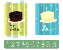 Insieme delle torte di compleanno della vaniglia & del cioccolato con le candele numerate Immagine Stock