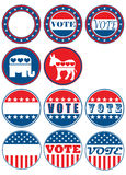 Un insieme di 11 distintivo di campagna elettorale Immagine Stock