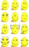 Un insieme di 12 uova divertenti per Pasqua Fotografie Stock Libere da Diritti