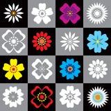 Un insieme di 16 fiori Immagini Stock Libere da Diritti
