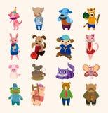 Un insieme di 16 icone animali sveglie Fotografia Stock Libera da Diritti