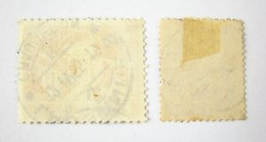 Un insieme di 2 francobolli in bianco Fotografia Stock