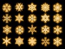Un insieme di 20 fiocchi di neve nello stile scintillato Fotografia Stock