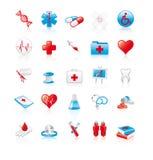 Un insieme di 20 icone mediche lucide Immagini Stock