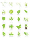 Un insieme di 20 icone verdi Fotografie Stock Libere da Diritti