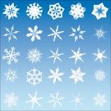 Un insieme di 25 fiocchi della neve di vettore Immagine Stock