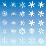 Un insieme di 25 fiocchi della neve di vettore Fotografia Stock