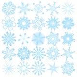 Un insieme di 25 fiocchi di neve Fotografia Stock Libera da Diritti